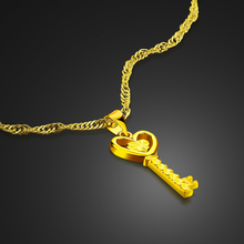New fashion real gold plated necklace.Women key pendant necklace.Real 24 k necklace.Jewelry will not change color