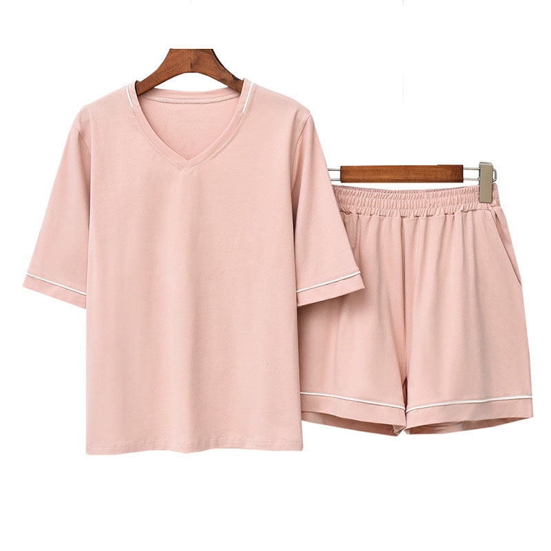Women's Pajamas Sets Ice Silk Cotton V-neck Short Sleeve Shorts Homewear Summer Solid Color V-neck Casual Loose Simple Sleepwear