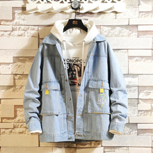 American Fashion Streetwear Men Jackets Printed Designer Hip Hop Denim Hombre Big Pockets Cargo Coats Bomber