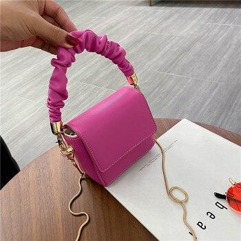 Super Mini Lipstick Bags Folds Shoulder Handle PU Leather Shoulder Bags For Women 2020 Summer Totes Handbags Crossbody Bags