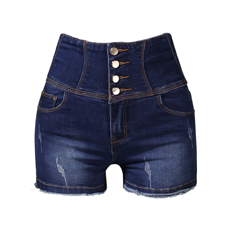 Women Single-Breasted Skinny Denim Shorts Ladies Summer High Waist Shorts Femme Streetwear Tassel Shorts Plus Size AA51276