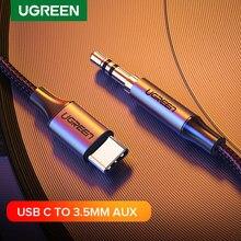 Ugreen usb c para 3.5mm aux fones de ouvido tipo c 3.5 jack adaptador cabo de áudio para huawei companheiro 20 p30 oneplus 7 pro xiaomi mi 6 8 9 10