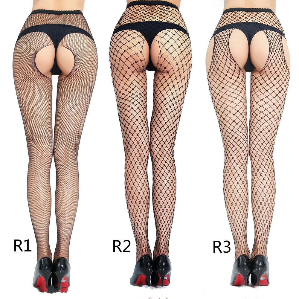 Women Sexy Lingerie Elastic Stockings Transparent Black Fishnet Stocking Thigh Sheer Tights Open Crotch Pantyhose Dropship