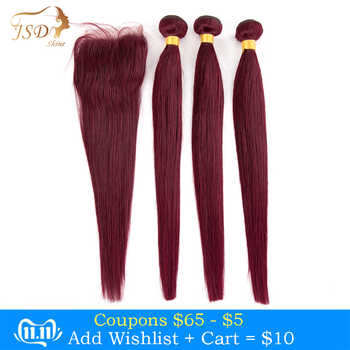 JSDshine Brazilian Straight Hair Bundles With Closure Red 99J Burgundy Human Hair Weave Bundles With Closure Non-Remy - DISCOUNT ITEM  60% OFF All Category