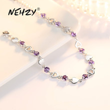 NEHZY 925 Sterling Silver Jewelry Bracelet High Quality Retro Fashion Woman Purple Crystal Heart Bracelet Length 20.5CM