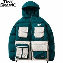2019 зимняя уличная куртка в стиле хип хоп парка с подкладкой для мужчин Harajuku цветной Тренч с капюшоном ветровка одежда оверсайз Новинка