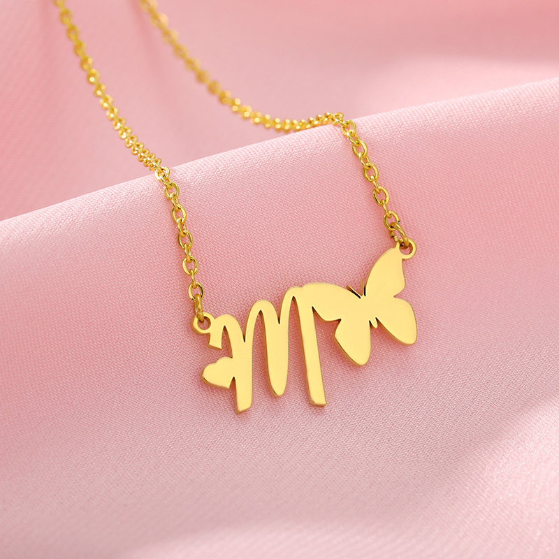 A-Z Butterfly Heart Initial Letter Necklaces For Women Gold Color Stainless Steel Chain Choker Female Pendant Necklace Jewelry(China)