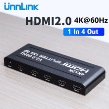 Unnlink HD MI 2.0 Splitter 1X4 UHD 4K @ 60Hz HDCP 2.2 HD MI 1 In 4 Out per la TV LED mi box3 ps4 monitor proiettore tv box di un computer