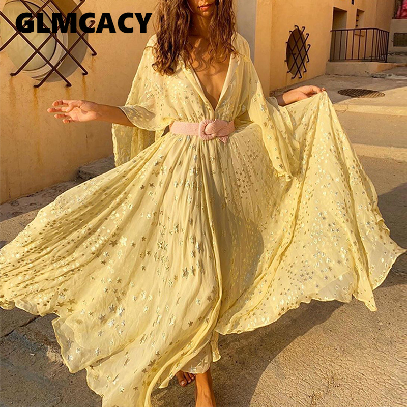 Women Star Printed Plunge V-neck Chic Elegant Maxi Dress Bohemian Beach Style Dresses