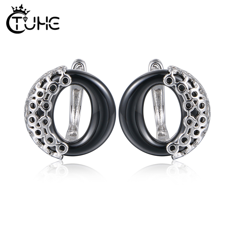 2019 Retro Women Ceramic Rings Metal Surround Circle Round Ceramic Earrings Stud Earrings Three Colors Pink Black White