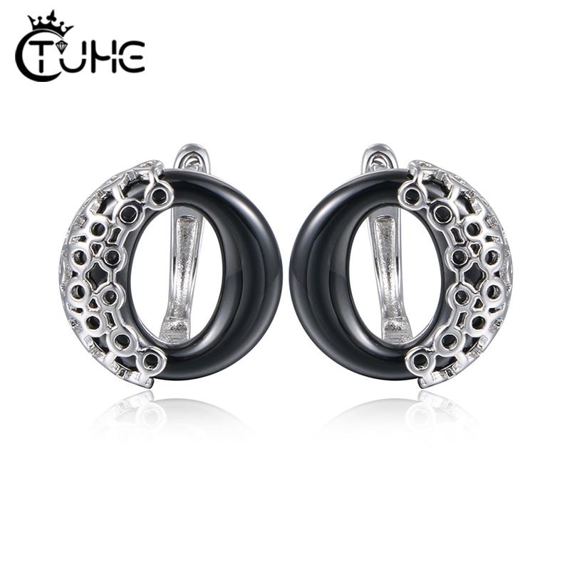 2019 Retro Women Ceramic Rings Metal Surround Circle Round Ceramic Earrings Stud Earrings Three Colors Pink Black White