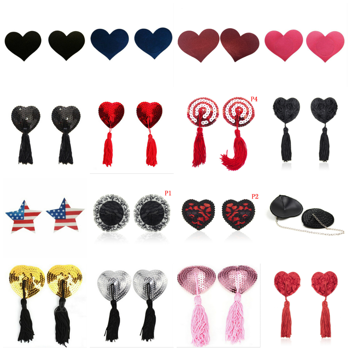 1 Pair Sexy Pasties Stickers Women Lingerie Sequin Tassel Breast Bra Nipple Cover Self Adhesive Heart Shape Bra Nipple Cover image