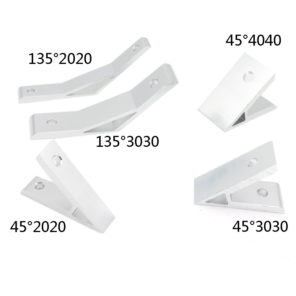 2Pcs 2020/3030/4040/4545/6060/8080/9090 45 Degree 135 Degree Angle Corner Connecotion For Aluminum Support Guide