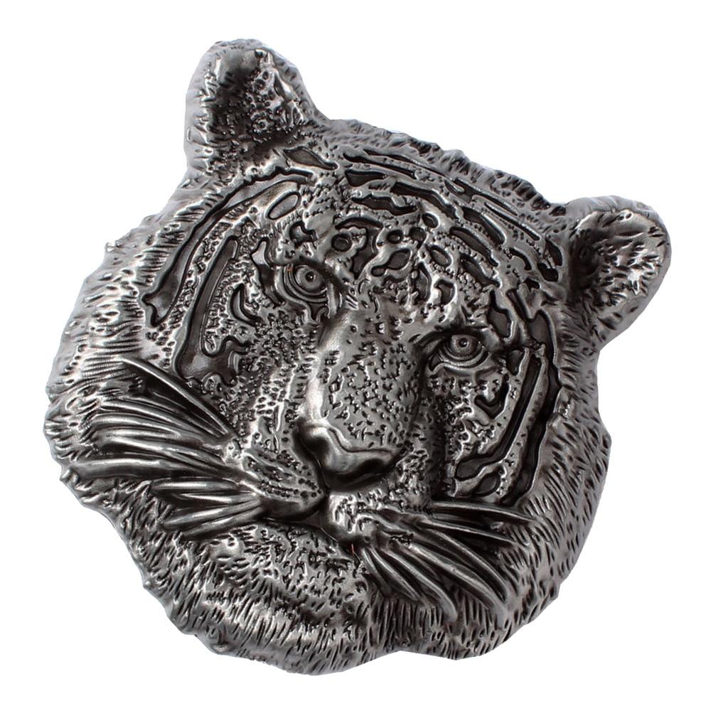 Alloy Vintage Western Belt Buckle Tiger Head Buckle Animal Metal Men Silver
