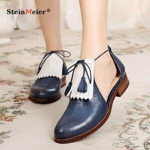 Image 2 - Sandálias femininas plana couro genuíno brogues yinzo senhoras apartamentos sandálias amarelas sapatos mulher vintage oxford sapatos para mulher 2020