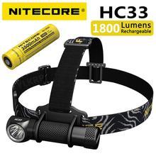 Портативный налобный фонарь NITECORE HC33 CREE XHP35 HD max 1800 люмен, налобный фонарь 187 метра, 8 режимов работы, уличный налобный фонарь