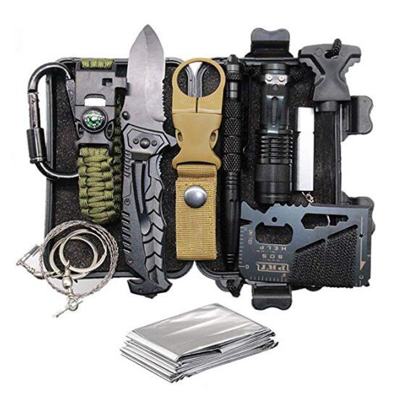 11 in 1 Survival Kits Outdoor Gadget SOS EDC Emergency Tools with Knife Compass For Adventure Outdoors Sport(China)