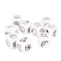 Juego de dados story look contar una historia cubos con caja de metal para la diversión de la familia juego de mesa