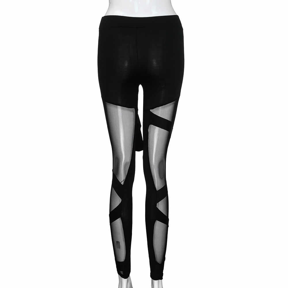 Spor tayt koşu pantolon siyah klasik örgü gotik tayt fitness pantolonları spor salonu koşu ince seksi fitness pantolonları #5 $