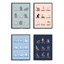 Wall Art Canvas Painting HD Printing Animal Yoga Dog Cat Lovely Poster Home Decorative Modern Nordic Living Room Modular Picture