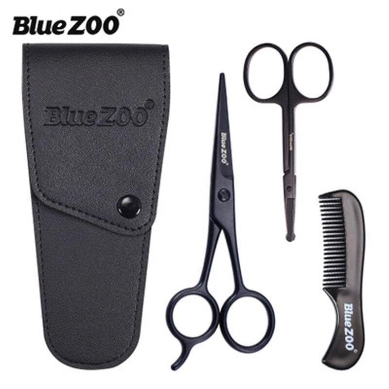 3pieces kit barba bigode scissor e pente conjunto kit homem cuidado de aco inoxidavel nariz tesoura