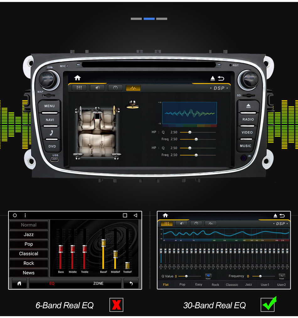 Clearance Eunavi 2 din Android 9.0 Car DVD Radio Multimedia GPS for FORD Focus Mondeo S-MAX C-MAX Galaxy 4G 64G IPS DSP TDA7803A head unit 9