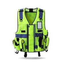 Светоотражающий жилет высокая видимость Мульти Карманный дышащий Защитное снаряжение Открытый предохранительный бак верхняя конструкция дорожного движения наружная одежда