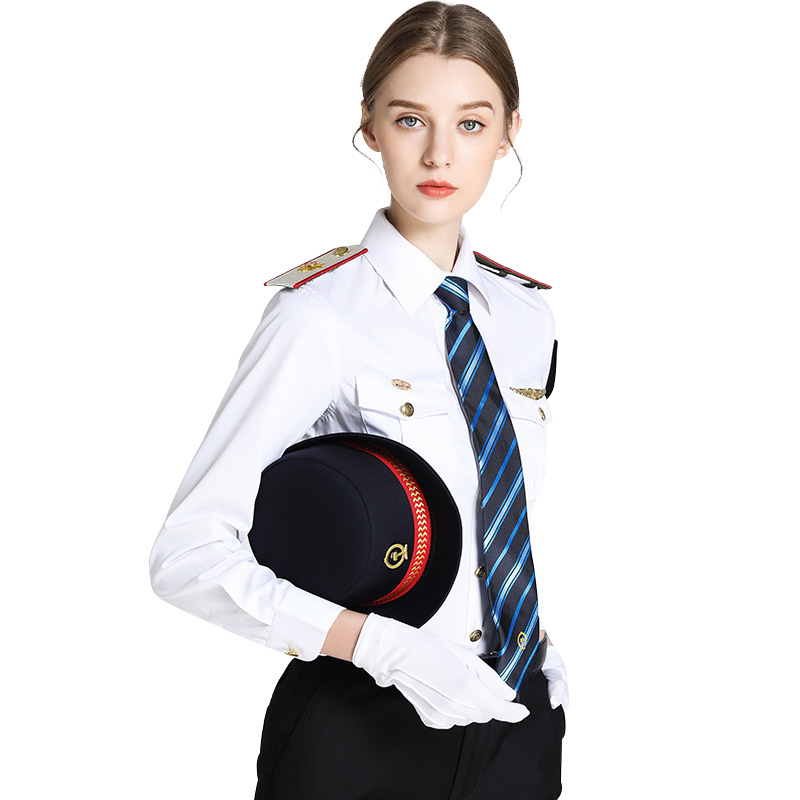 Women Summer Autumn Business Uniform Office Lady Clothes Captain Stage Performance Shirt Sets Female High Quality Shirts