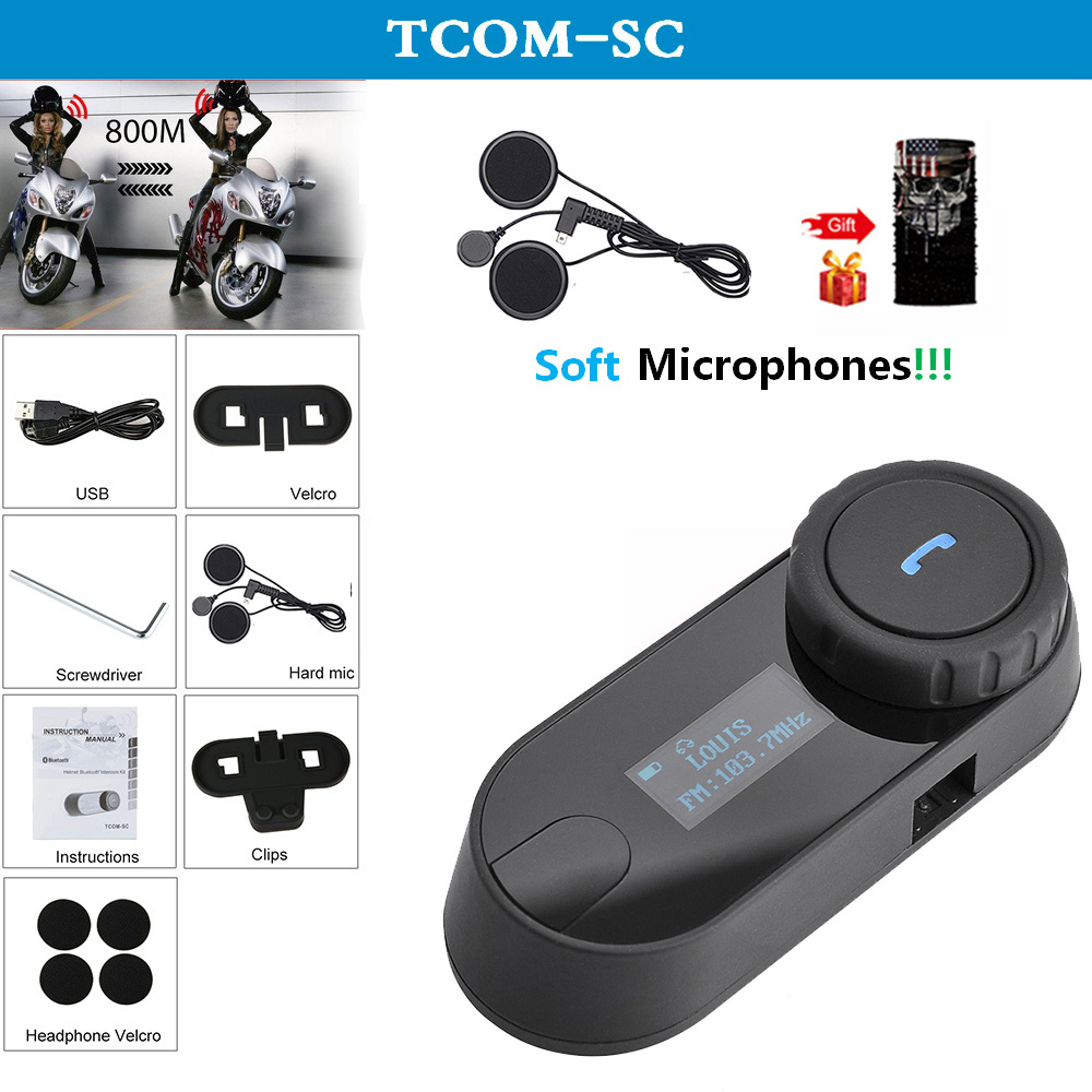 QPLOVE FreedConn Tcom Sc Motorcycle Helmet Bluetooth Intercom With FM Radio LCD Screen And Soft Microphones Scarf Interphone