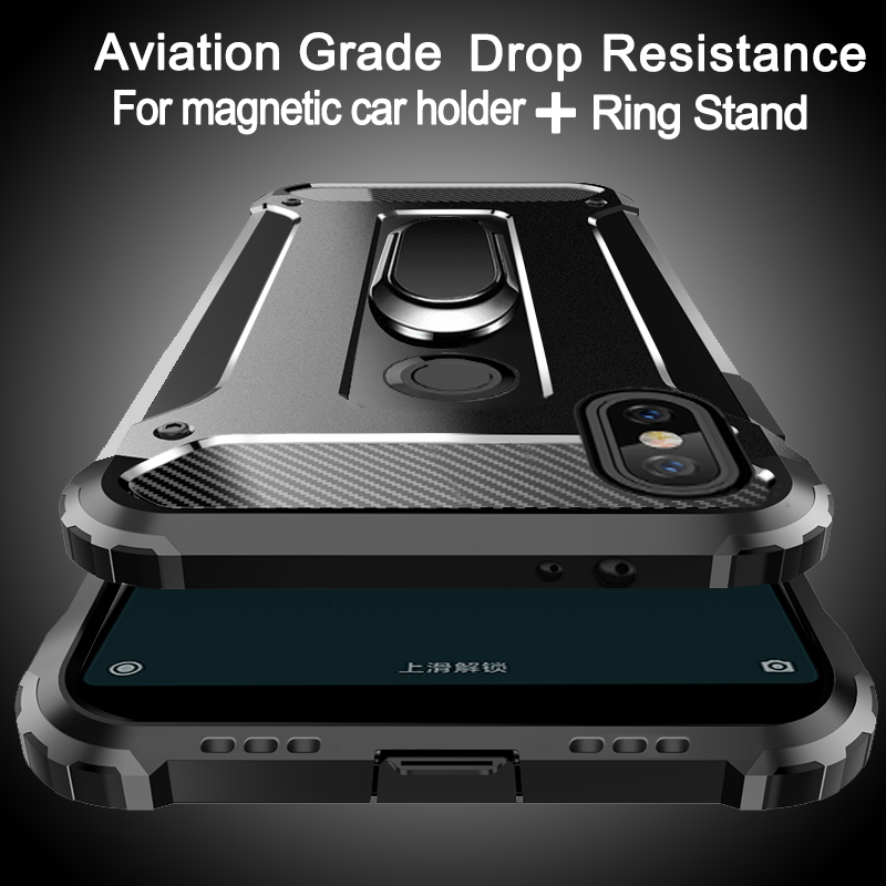 Aviation shockproof Ring Stand Phone Case For <font><b>XiaoMi</b></font> 9 8 SE 8 Lite 6X 6 Plus 5X 5S Plus 5C A2 F1 Note 2 <font><b>Mix</b></font> 3 <font><b>2s</b></font> Max 3 2 Case image