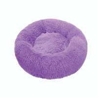 Purple-Round Cat Beds House Soft Long Plush Best Pet Dog Bed For Dogs Basket Pet