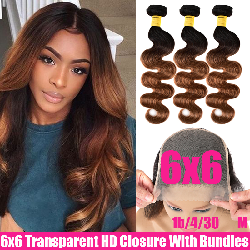 Ombre Peruvian Body Wave 3/4 Bundles With 6x6 Lace Closure And Bundles Remy Transparent HD Lace Closure With Human Hair Bundles