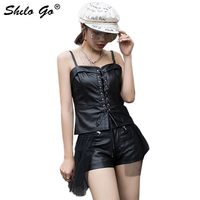 Genuine Leather Tops Sexy Lace Up Leather Cami Backless Crop Top Women Autumn Night Out Spaghetti Strap Vests Slim Fit For Women