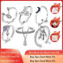 VOROCO אמיתי 925 סטרלינג כסף אצבע טבעות רומנטי דמעות של פרח מתכוונן גודל שרשרת טבעת תכשיטי יום אישה