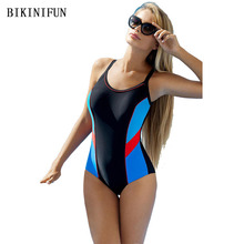 New Racing Swimsuit Women Professional Sports Swimwear Gym One Piece Swimsuit S-L Contrast Color Patchwork Monokini Bikini Set цена 2017