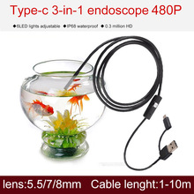 купить micro visualizer usb type c ip67 endoscope waterproof pipe inspection snake camera for android video pipe inspection hard cable по цене 339.98 рублей