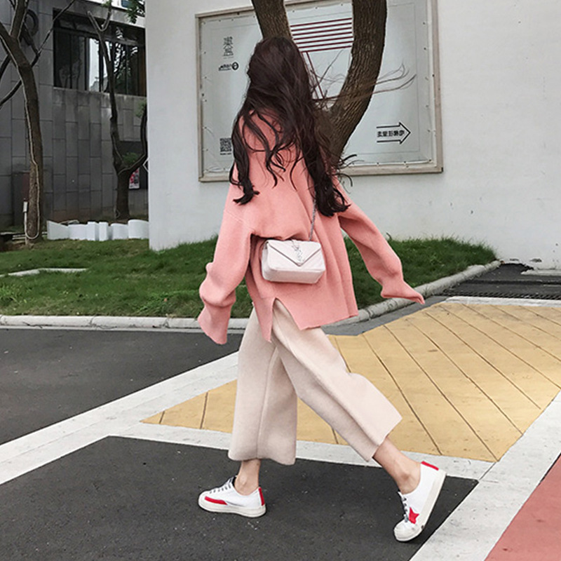 2019 Autumn Graceful High Cold Royal Sister Young-Style CHIC Dad Pants Collocation Very Fairy Two-Piece Set Early Autumn Clothin