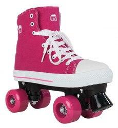 Nuevo rodillo de lona zapatos rodantes con patines doble fila de cuatro patas ropa para niños adultos Retro sarga patines de algodón