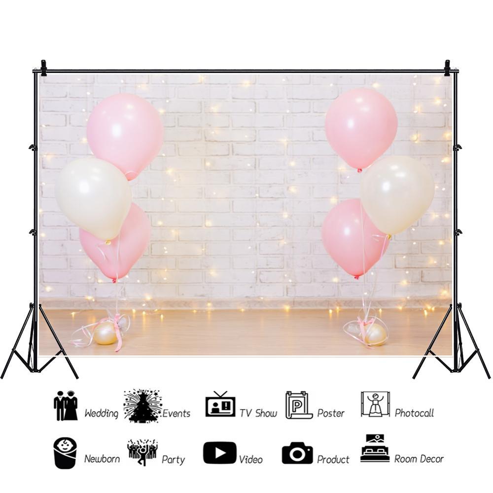 Yeele Balloons Brick Wall Decorative Light Birthday Photography Backgrounds Customized Photographic Backdrops for Photo Studio