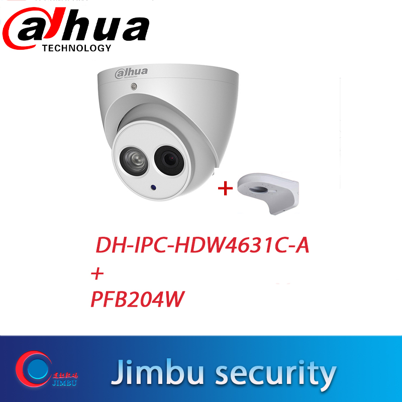 Dahua POE 6Mega Pixel IP camera IPC HDW4631C A H.265 6MP CCTV Dome Mental Security Camera Built in Mic ONVIF with brPFB204W hot-in Surveillance Cameras from Security & Protection