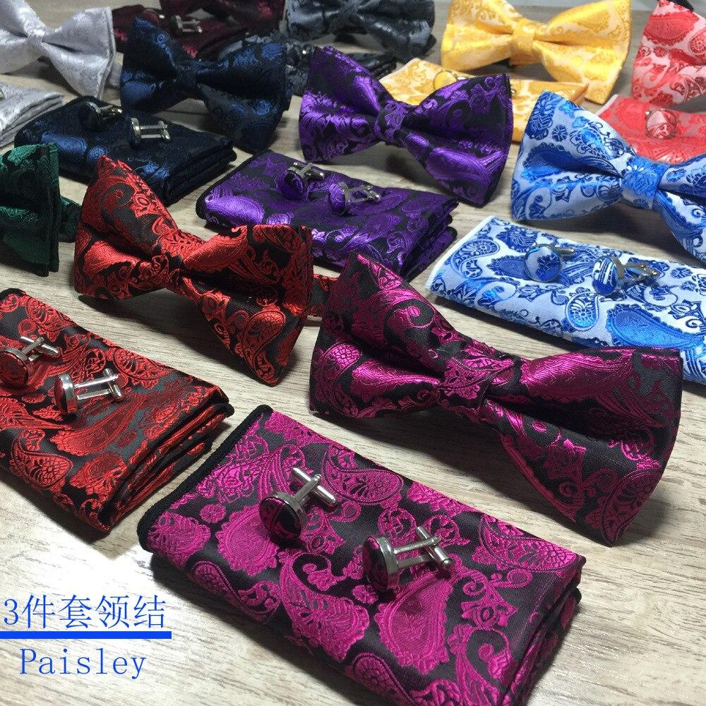 Мужской галстук-бабочка, золотой галстук-бабочка с узором пейсли, деловой Свадебный галстук-бабочка, синие и черные галстуки-бабочки для