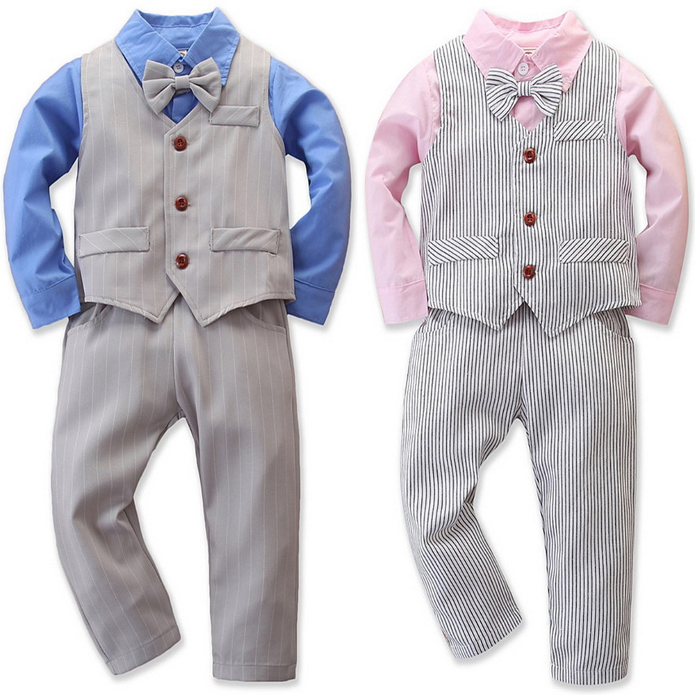 Toddler Baby Boys Striped Gentleman Bowtie Long Sleeve Shirt+Overall Pant Set US
