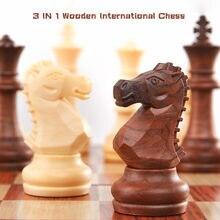 3 en 1 en bois International jeu d'échecs en bois jeux d'échecs dames jeu de Puzzle engagé cadeau d'anniversaire pour enfants échiquier