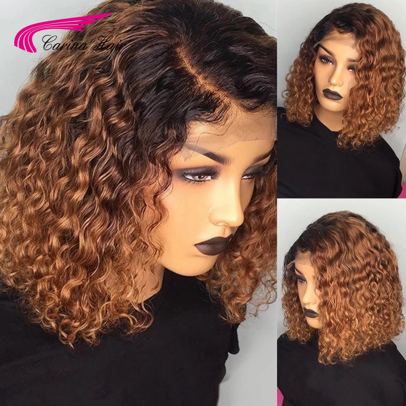 Carina Ombre Color Lace Front Human Hair Wigs 13*4 Lace Brazilian Curly Remy Hair Pre Plucked