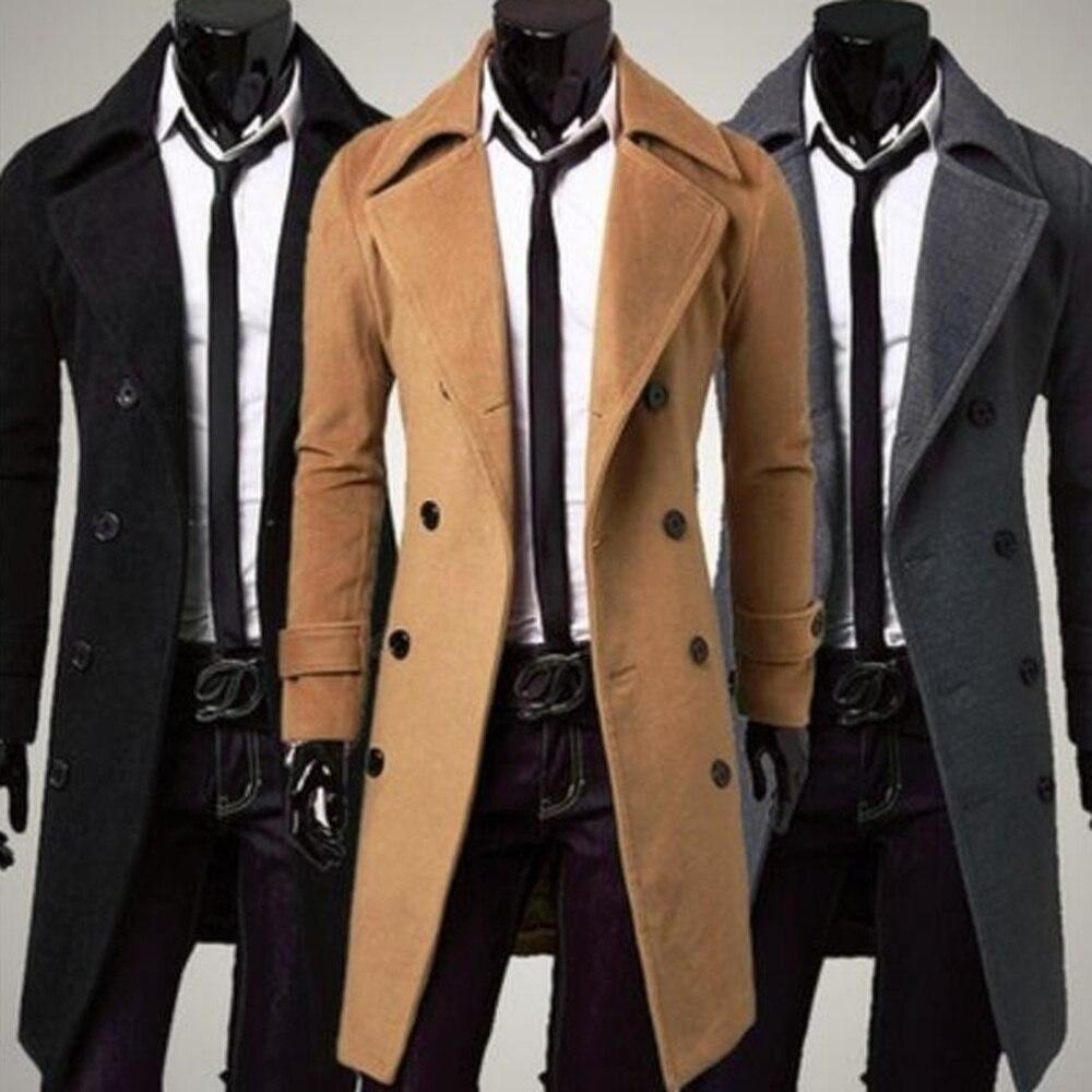 Autumn Winter Men's Woolen Trench Coats Long Coat Double Lines Buttons Lengthened Casual Men Wool Coat Slim Fit Overcoats
