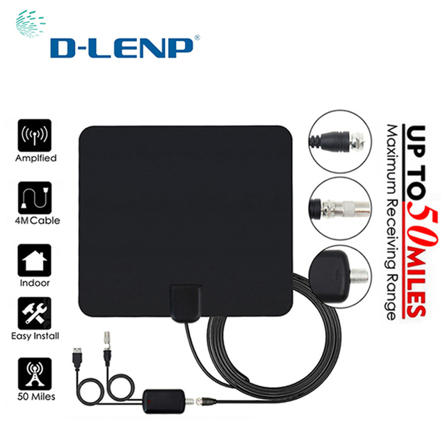 Dlenp Tv Antenne Digitale Hdtv Digitale Versterker Tv Antenne Dvb t Tdt Indoor DVB T2 Voor Satellietontvanger 50 Miles Range