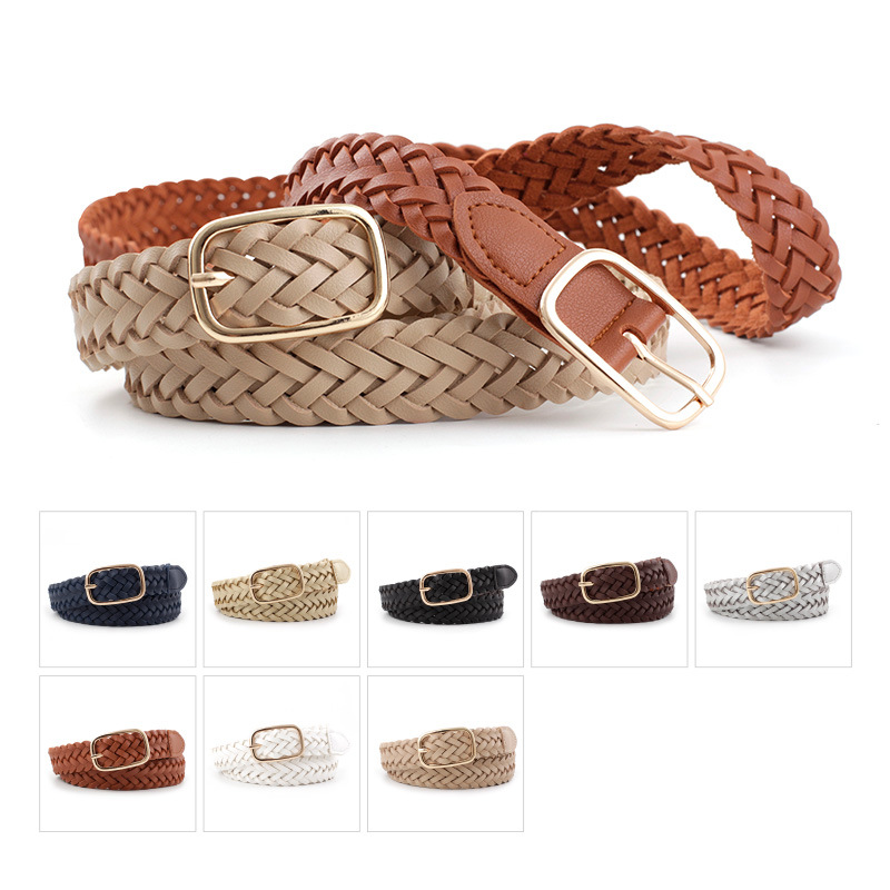 Women's PU Leather Braided Belt Golden Square Pin Buckle Belt New Fashion Causal Jeans Dress Waistband 2.3cm Thin Belt  P81