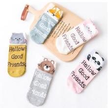 20 PCS = 10 pairs Cartoon women socks cotton invisible socks Cute animal Stereo ear girl ankle socks harajuku breathable socks
