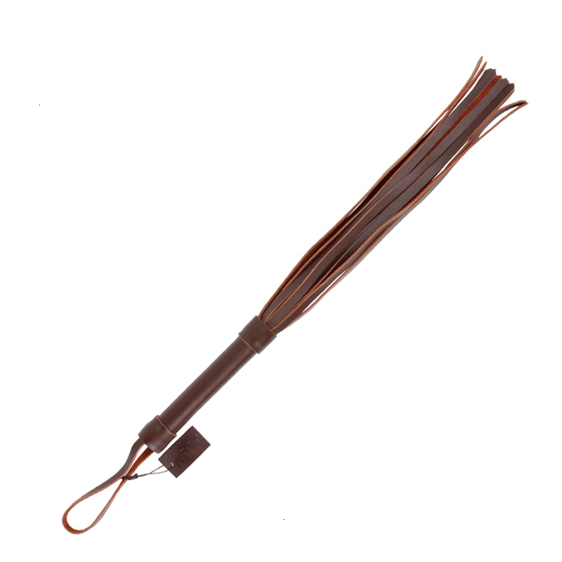 Handle Tassels genuine Leather Whip Flogger Restraints Tawse Queen black tail