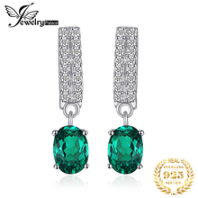 JewelryPalace Bornstone 1.7ct Oval Nano Russian Simulated Emerald Drop Earrings Genuine 925 Sterling Silver Fashion Jewelry Gift